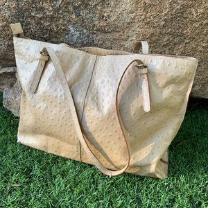 Hobo Croc Embossed Leather Structured Tote in Tan